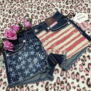 Pants - AmerIcan Flag Sequins Mid-Rise Short